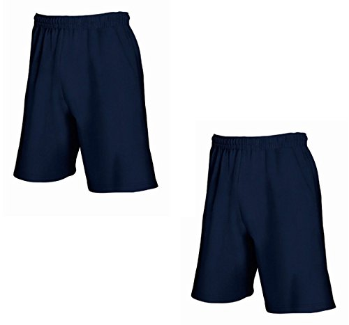 2er-Pack Fruit of The Loom Herren Kurze Sporthosen Jogginghosen Lightweight Shorts (XXL, Deep Navy)