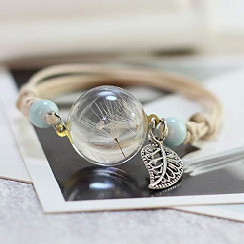 QFJCNZ Armband Mode Vintage Bettelarmband Handgemachte Echte Trockene Blume Glaskugel Webart Justierbare Armbänder Für Frauen