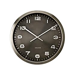 Present Time Karlsson Wall Clock Maxie, Steel Polished Grey