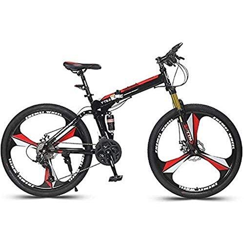min min Bicicleta Plegable De 26 Pulgadas Bicicleta De Montaña Bicicleta De Carreras Ciclismo Acero con Alto Contenido De Carbono Bicicleta De Montaña De Cola Dura Portátil 24 Velocidades