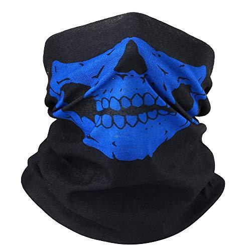 Ghost - Pañuelo para cuello con forma de cráneo, para Halloween, unisex, para mujer y hombres, pañuelo funcional, pañuelo para el cuello, pañuelo para la cabeza, resistente al viento azul Talla única