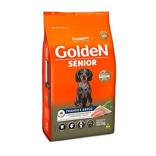 Ração Golden Fórmula Mini Bits Senior para Cães Adultos de Pequeno Porte Sabor Frango e Arroz, 10,1kg Premier Pet Para Todas Pequeno Idosos,