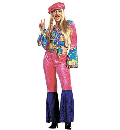 Preisvergleich Produktbild WIDMANN Damen Hippie Samt-Kostüm Größe L 40-42 für 60er-70er-Jahre Hippie-Kostüm