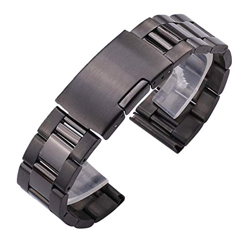 WNFYES 18 20 22 24 mm de Acero Inoxidable sólido Negro Reloj Pulsera Banda de Metal Recta Final la Plata del Oro de los Relojes Correa de reemplazo Relojes Correas