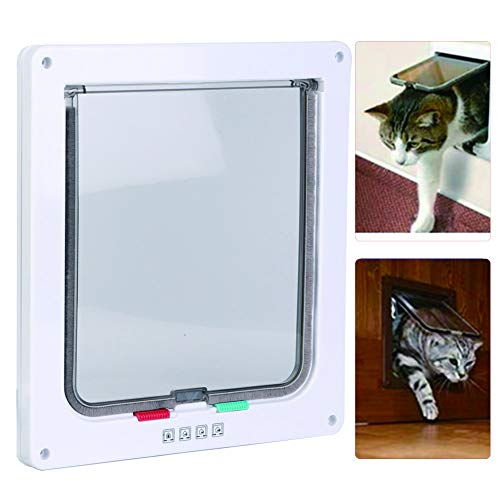 HEEPDD Cat Dog Flap Door, Square ABS Acrílico controlable Switch Pet Door 4 Way Locking Mascotas Impermeables Puertas de Malla para Perros Puppy Cats Kittens Waistline Under 29.53 Inch(Blanco)