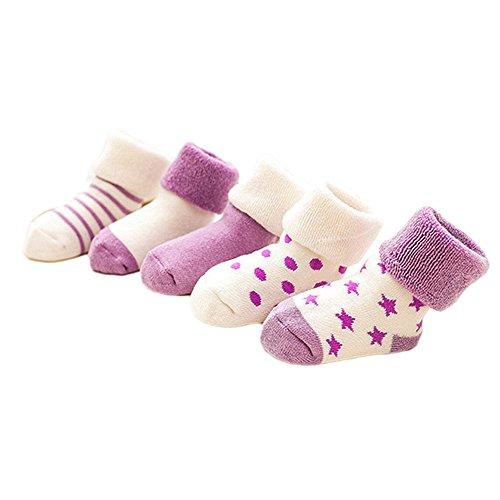 Vococal Chaussettes pour Bébés, Haute Qualité Chaussettes Coton Lovely Nouveau-Nés Bébé Chaussettes en Coton pour Bébé Garçon Fille(Clair Violet)