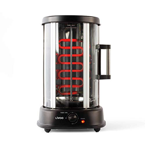 LIVOO DOM323 Grill Vertical pour Kebab, Poulet Rôti 2,5 Kg, Brochettes | Rôtissoire Rotatif, Diffusion Homogène de la Chaleur | 1500W