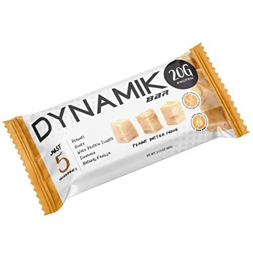 Dynamik Bar, High Protein Food Bar, Make with 5 Ingredients, 20G Protein, Gluten Free, NON-GMO (12 Bars, Peanut Butter Fudge)