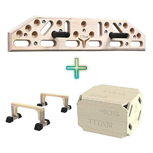 Tabla de escalada + Plyo Box Plyométrico + paralelas para X-Fit, Crossfit, entrenamiento de salto, gimnasio en casa, kit de equipo de fitness en casa, sentadillas, escalones, flexiones, quemar grasa
