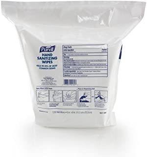 PURELL 911802 - Sanitizing Wipes, 6 x 8, White, 1200/Refill Pouch