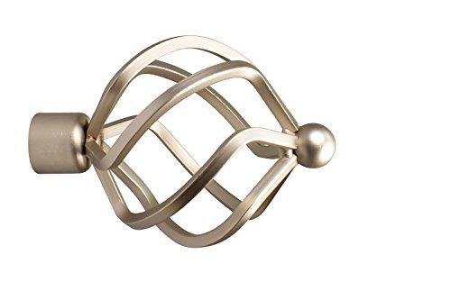 iso-design Gardinenstangen Endstück Flammenkugel aus Metall für 16 mm Durchmesser, Stahl Silber