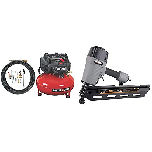 PORTER-CABLE C2002-WK Oil-Free UMC Pancake Compressor with 13-Piece Accessory Kit & NuMax SFR2190 Pneumatic 21 Degree 3-1/2' Full Round Head Framing Nailer Ergonomic and Lightweight Nail Gun