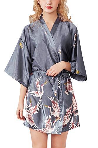 YAOMEI Mujer Vestido Kimono Satén, Camisón para Mujer, Sedoso Grua & Flores Robe Albornoz Dama de Honor Ropa de Dormir Pijama, Estilo Corto (2XL, Plata)