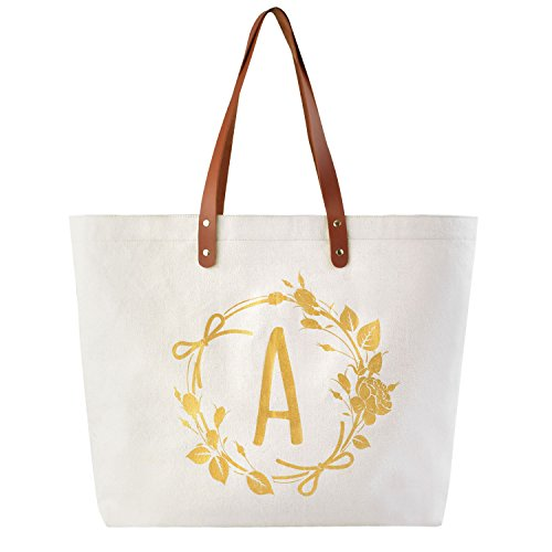 ElegantPark Personalized Gifts for Women Monogrammed Tote Bag Monogram A Initial Bags and Totes for...