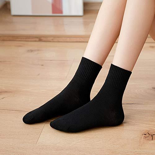 CYMTZ 5 Pares/Paquete De Moda Lindos Y Cálidos Calcetines De Mujer Cómodos De Punto Calcetines Casuales para Niñas Negro