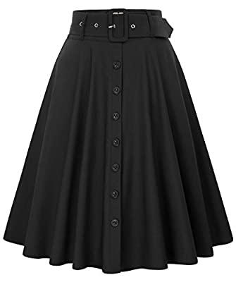Belle Poque Women's Stretch High Waist A-Line Flared Midi Skirts Pockets & Belts