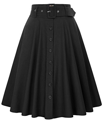 Ropa de la década de 1950 para Mujeres Faldas Elegantes con Columpios con 2 Bolsillos Color sólido Negro # 571 Mediano