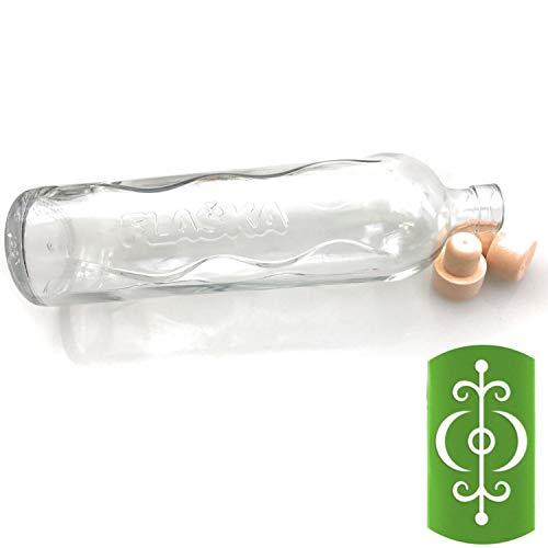 Kerafactum Design Symbol Olan Rei Gesundheit Trinkflasche Wasserflasche 0,50 Ltr. Flaska Glas Wasser Trink Flasche Glasflasche zum regelmäßigen Trinken Wassertrinken 2 Korken und 1 Flaschenbürste