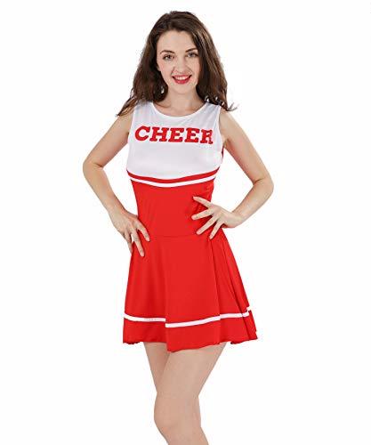 ThreeH Disfraz de Animadora para Adulta Mujer Mini Vestido sin Mangas sin pompón C40,Red