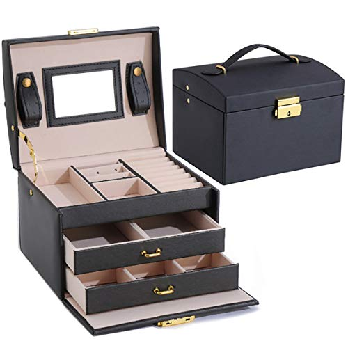 Astory Jewellery Box Organizer, 3-Layer Lockable Jewellery Box PU Leather Display Jewelry Holder Necklace Watch Storage Box Built-in Mirror for Girls and Women's Gift, Black