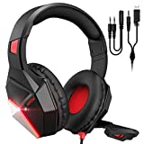Mpow EG10 Gaming Headset für PS4 PS5 Xbox one PC Switch, 3.5mm Surround Sound Kabelgebundenes mit 50MM-Treiber, LED Over-Ear Gaming Headset mit Noise Cancelling-Mikrofon,Rot