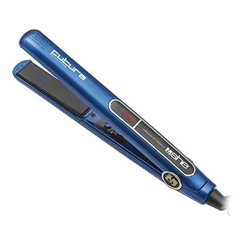 SHE Futura - Plancha para el pelo con superficie revestida de titanio, cerámica y turmalina, azul