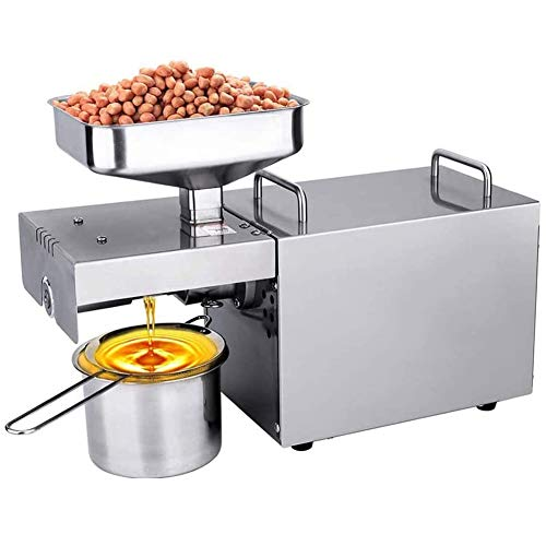 GzxLaY Fully Automatic Cold/Hot Nut Oil Extractor Stainless Steel Seed Oil Press for Coconut Castor Olive Home/Commercial Oil Expeller