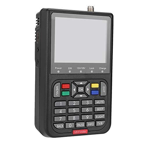 Lazmin Satellite Finder Satellite Signal Meter, Digital V8 Satellite Signal Finder HD 1080P Signal Strength Meter Detector, 6000 Channels TV and Radio programmable (Black) (110-240V)
