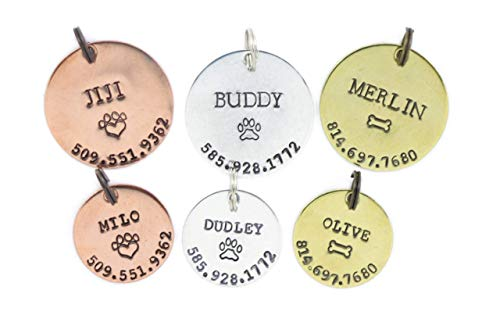 Personalized Pet Tag - DII ABC L20 - Dog Cat ID - Handstamped Handmade - 1 1/8 7/8 Inch Disc – New Puppy Kitten Identification Lost - Change Name Number