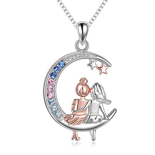 VONALA Collar de plata de ley 925 para hermana/madre/hija con joyas de cristal, regalo de cumpleaños para ella, Plata de ley 925 Cristal,