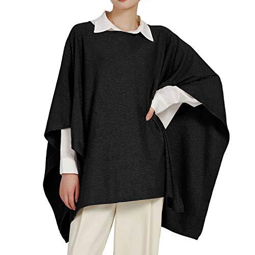 PULI Damen Classic Pullover Poncho Kaschmir Feel Sweater Fashion Anzug für den passenden Gürtel