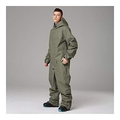 Yhui Pantalons Ski Suit Hommes et Femmes Costume Couple d'extérieur étanche d'équipement de Ski Une Seule pièce Ensemble Skateboard Vêtements (Couleur : Male Army Green, Size : XL)