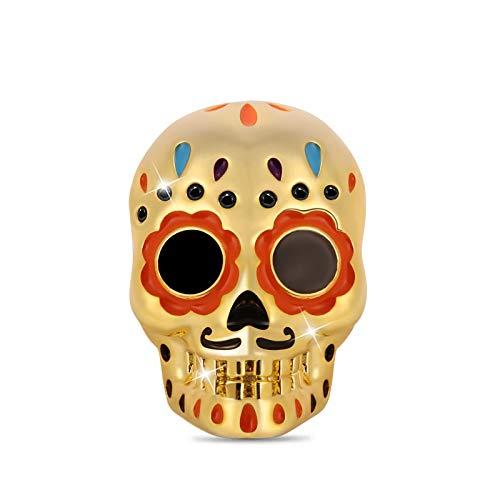GNOCE Sugar Skull Charms Pearl Sterling Silver 18K Chapado en oro Skull Beads Charm Fit Pulsera/Collar Joyas para niñas Esposa Hija