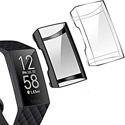 commercial The Tensea is compatible with the Fitbit Charge 3 and Charge 4 screen protectors, a 2-pack TPU soft bumper … fitbit charge 3 screen protector