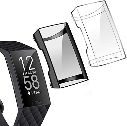Tensea Compatible with Fitbit Charge 3 and Charge 4 Screen Protector, 2 Packs Soft TPU Bumper Full Around Case Cover Protector for Fitbit Charge 3/3 SE and Fitbit Charge 4 (Black and Clear)