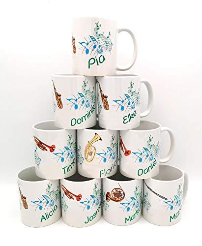 Personalisierte Musiker-Tasse. Kaffeetasse mit Noten, Instrument und mit Namen personalisiert. Individuell bedruckt, perfekt als Geschenk.
