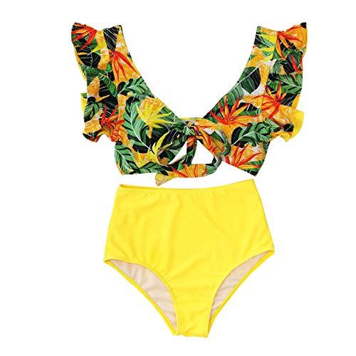 Senyounight - Traje de baño sexy con cuello en V y pliegues sin mangas con volantes divididos de dos piezas con corte de cintura alta (amarillo 1, mediano)