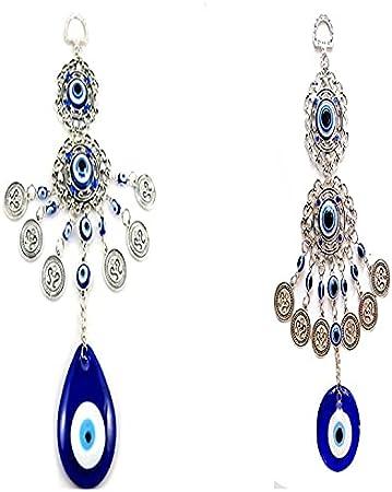 QIFFIY Gotitas Redondas/de Agua Forma Turco Azul Ojos Amuleto Pared Colgando Lucky Colgante Viento Chimes Colgando Hogar Colgante Adorno (Color : 2pcs)