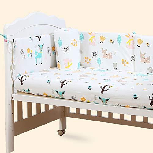 Protections de berceau de lit de bébé pour bébé Protège-rail de sécurité en coton Respirant, Protecteur berceau, Oreiller de bumper Sleep, Kit de literie pour enfants, Couverture à 4 côtés, Drap lit
