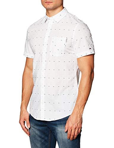 Tommy Jeans TJM Short Sleeve Dobby Shirt Camisa, blanco, L para Hombre