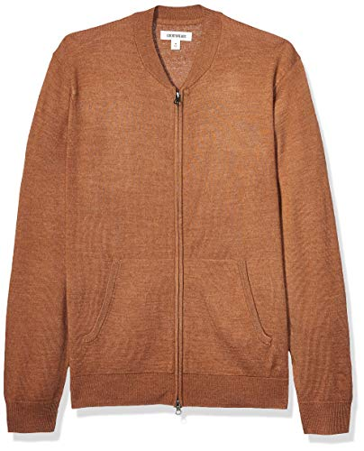 Amazon Brand - Goodthreads Men's Lightweight Merino Wool/Acrylic Bomber Sweater, Camel Medium