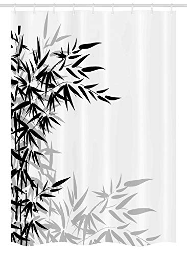 """Ambesonne Bamboo Print Stall Shower Curtain, Bamboo Leaves on Clear Simple Background Organic Life Illustration, Fabric Bathroom Decor Set with Hooks, 54"""" X 78"""", Black White"""