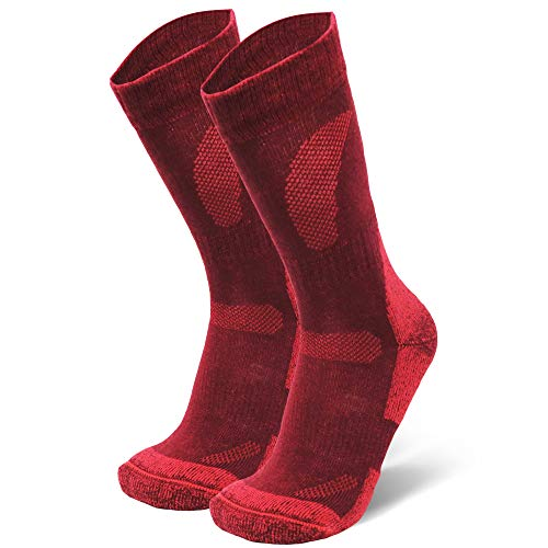 Merino Wool Hiking & Walking Socks (Wine Red, US Women 5-7 // US Men 3.5-6)