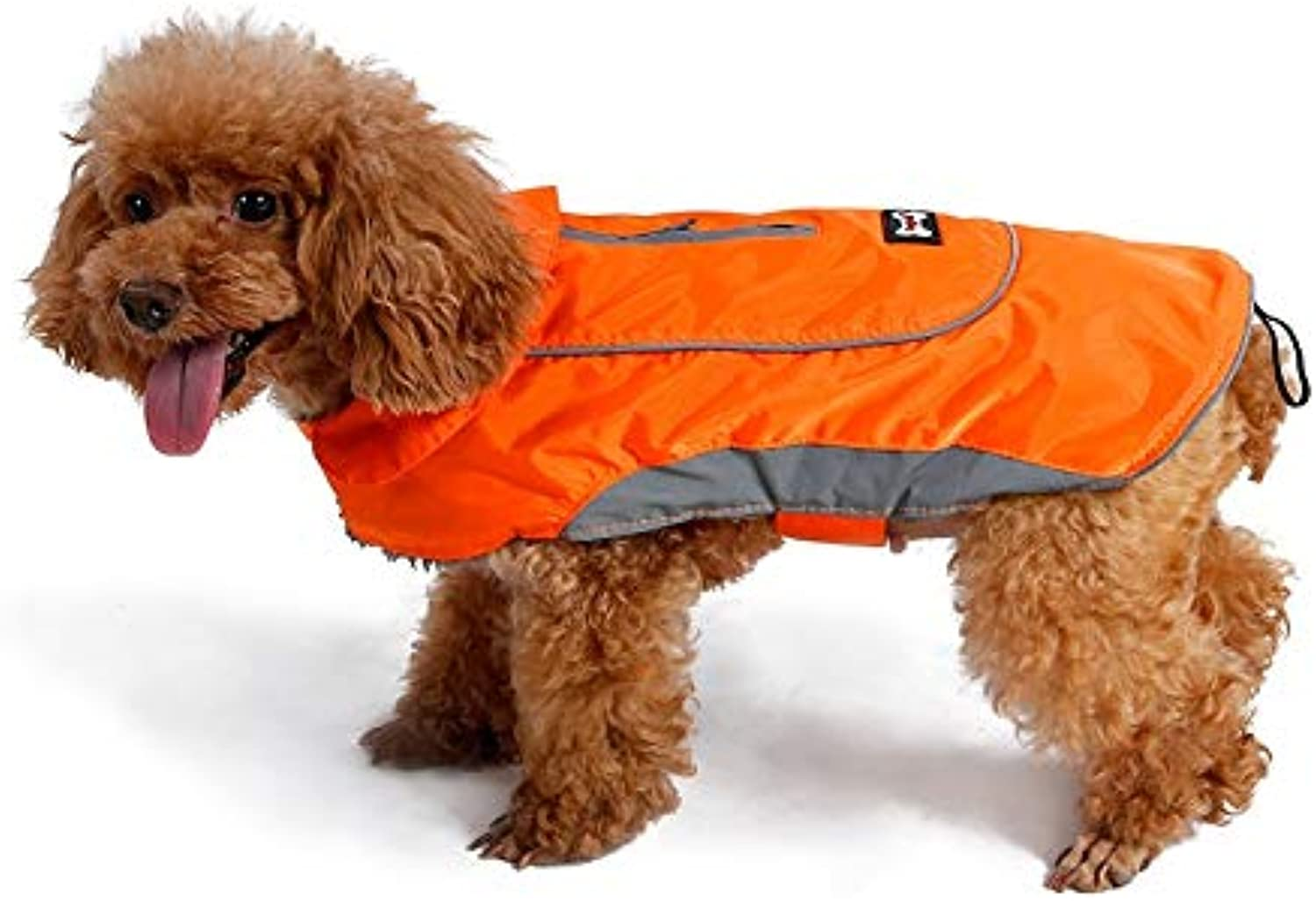 LSLMCS Pet Coat Jacket Vintage Style Light Reflective Winter Warm Vest with Harness Hole,Dogs Windproof and Waterproof Cold Weather Coats Thick (color   orange, Size   XL)