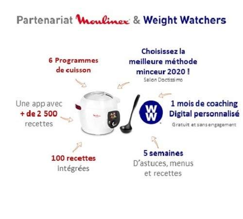 Moulinex Cookeo + Smart Multicooker, 100 vorprogrammierte Rezepte, Schöpflöffel- und Weight Watchers-Programm inklusive, 6 l, bis zu 6 Personen, 6 Kochmodi, 1600 W, weiß YY4407FB