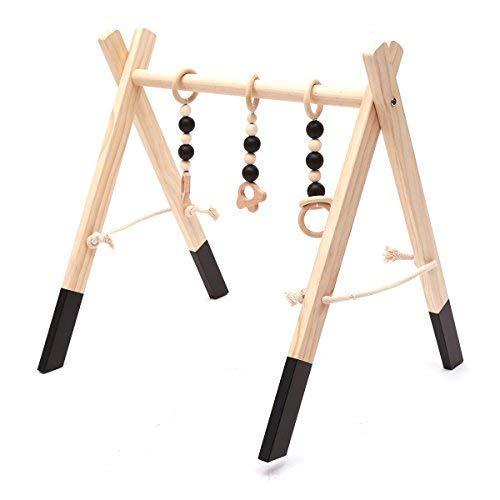 HB.YE Babyspielzeug aus Holz Puzzle Spieltrapez Babygymnastik aktiv Spielzeug Babyzimmer Dekoration (Schwarz)