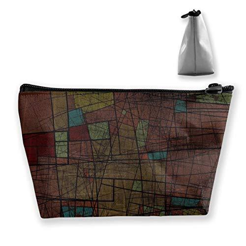 Sacs cosmétiques pour femme - Multifonction - Gris foncé - Sac de rangement - Sac à main portable - Capacité de lavage - Avec fermeture éclair (trapézoïdale)