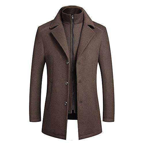 YOUTHUP Herren Wollmantel 2 in 1 Winter Trenchcoats Beiläufig Slim Fit Dicker Peacoat