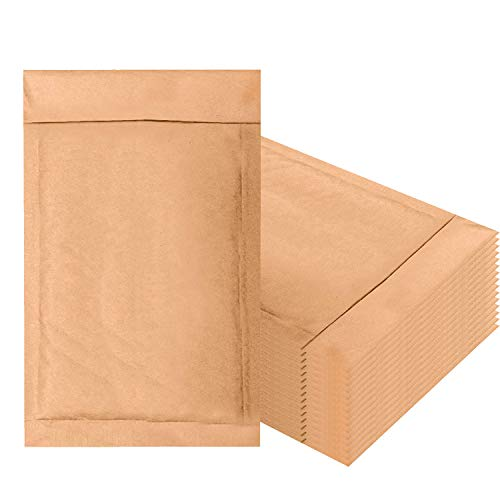 Amiff Natural Kraft Bubble mailers 4x7 Brown Padded envelopes 4 x 7. Pack of 50 Kraft Paper Cushion envelopes. Peel and Seal. Mailing, Shipping, Packing, Packaging.