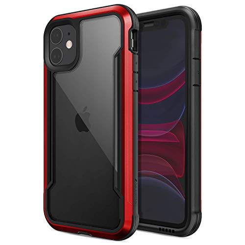 Raptic Shield, Apple iPhone 11 Case (Formerly Defense Shield) - Military Grade Drop Tested, Anodized Aluminum, TPU, and Polycarbonate Protective Case, Size iPhone 11, Red